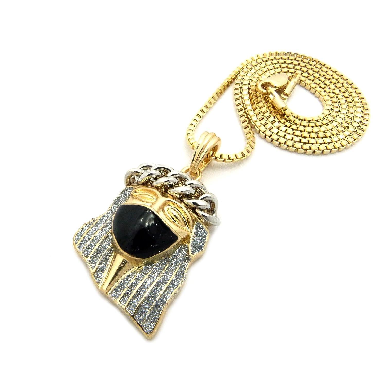 New Masked Jesus Glitter Pendant /&2mm//24 Box Chain Fashion Necklace MMP84BXGR