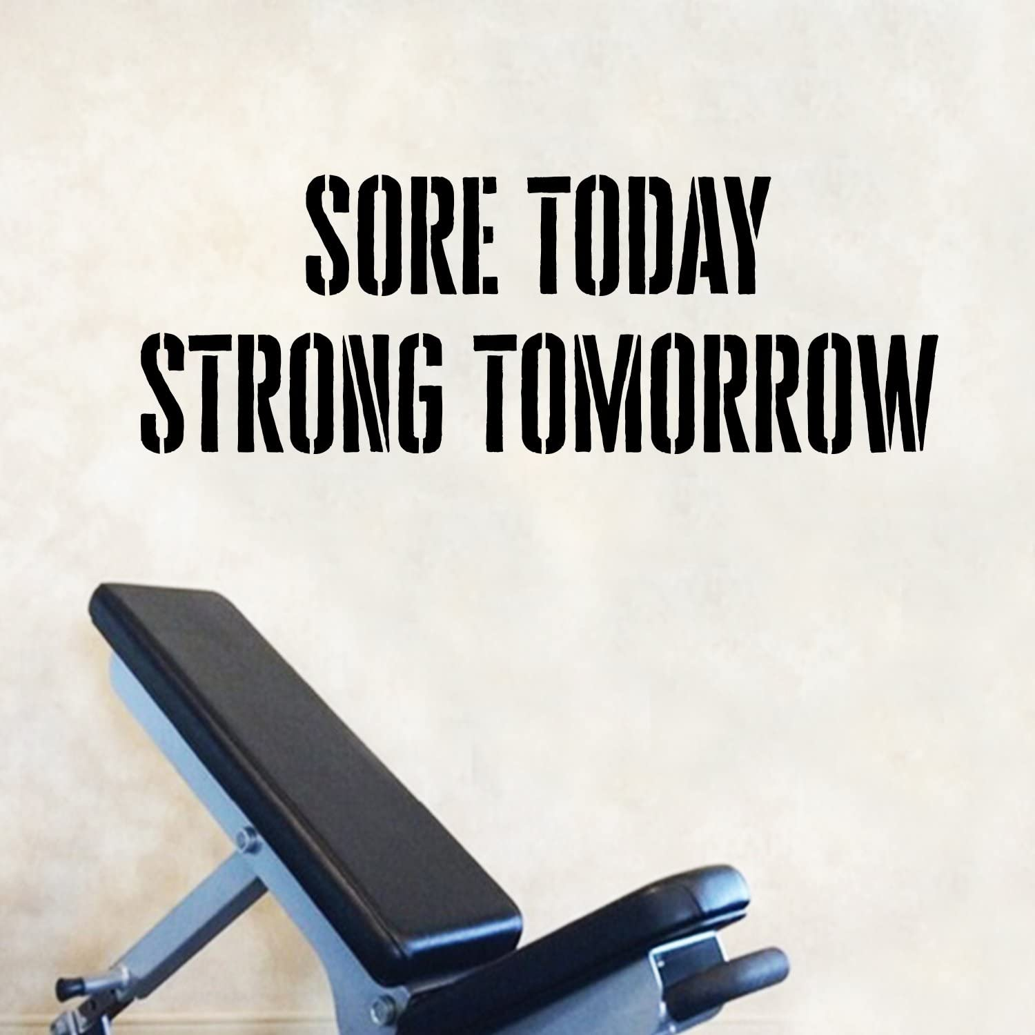 "Vinyl Wall Art Decal - Sore Today Strong Tomorrow - 14"" x 40"" - Positive Fitness Healthy Lifestyle Quote Sticker for Gym Crossfit Fitness Yoga Ballet Office Work Decor"