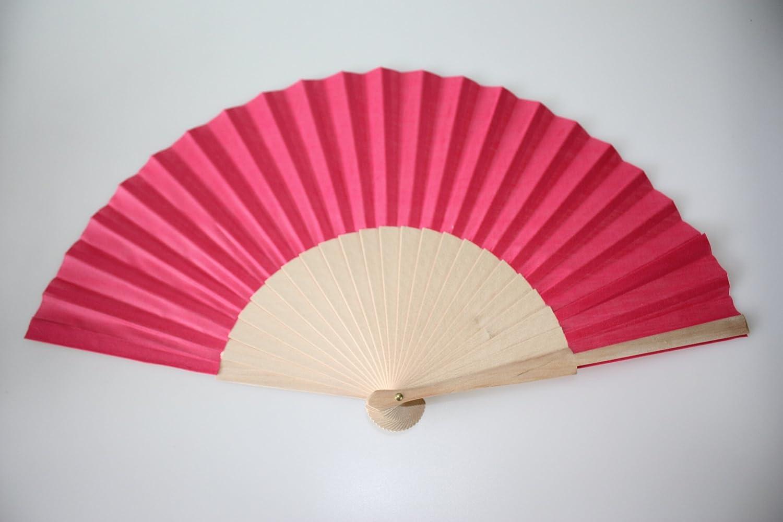 Fuschia Wooden/Fabric Hand Fan: Amazon.co.uk: Garden & Outdoors