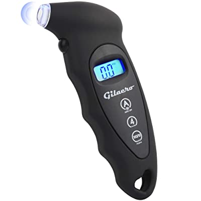 Gilaero Digital Tire Pressure Gauge 150 PSI 4 Settings for Car Truck Motorcycle Bicycle Backlit LCD Lighted Nozzle Non-Slip Grip: Automotive