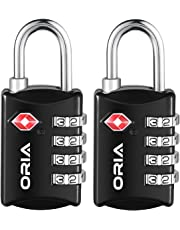 ORIA Luggage Lock, Travel Lock, TSA Approved Luggage Locks, 4 Digit Travel Combination Lock, Safe Padlock for Suitcases, Baggage, Small Cabinets, Briefcases, Computer Bags (Pack of 2)