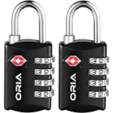 ORIA Luggage Lock, Travel Lock, TSA Approved Luggage Locks, 4 Digit Travel Combination Lock, Safe Padlock for Suitcases, Baggage, Small Cabinets, Briefcasess (Pack of 2, Black)