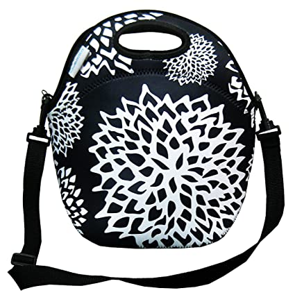 177843009fc9 Clasier Neoprene Black And White Insulated Cooler Lunch Bag 12 quot W x  12 quot H