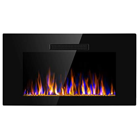 JAMFLY 40 Electric Fireplace Recessed in Wall Mounted Free Standing Heater Indoor Multicolor Slim Linear Flush Mounted Fireplace w Crystal, Remote Control, Back Lights, Timer,750W-1500W, Black