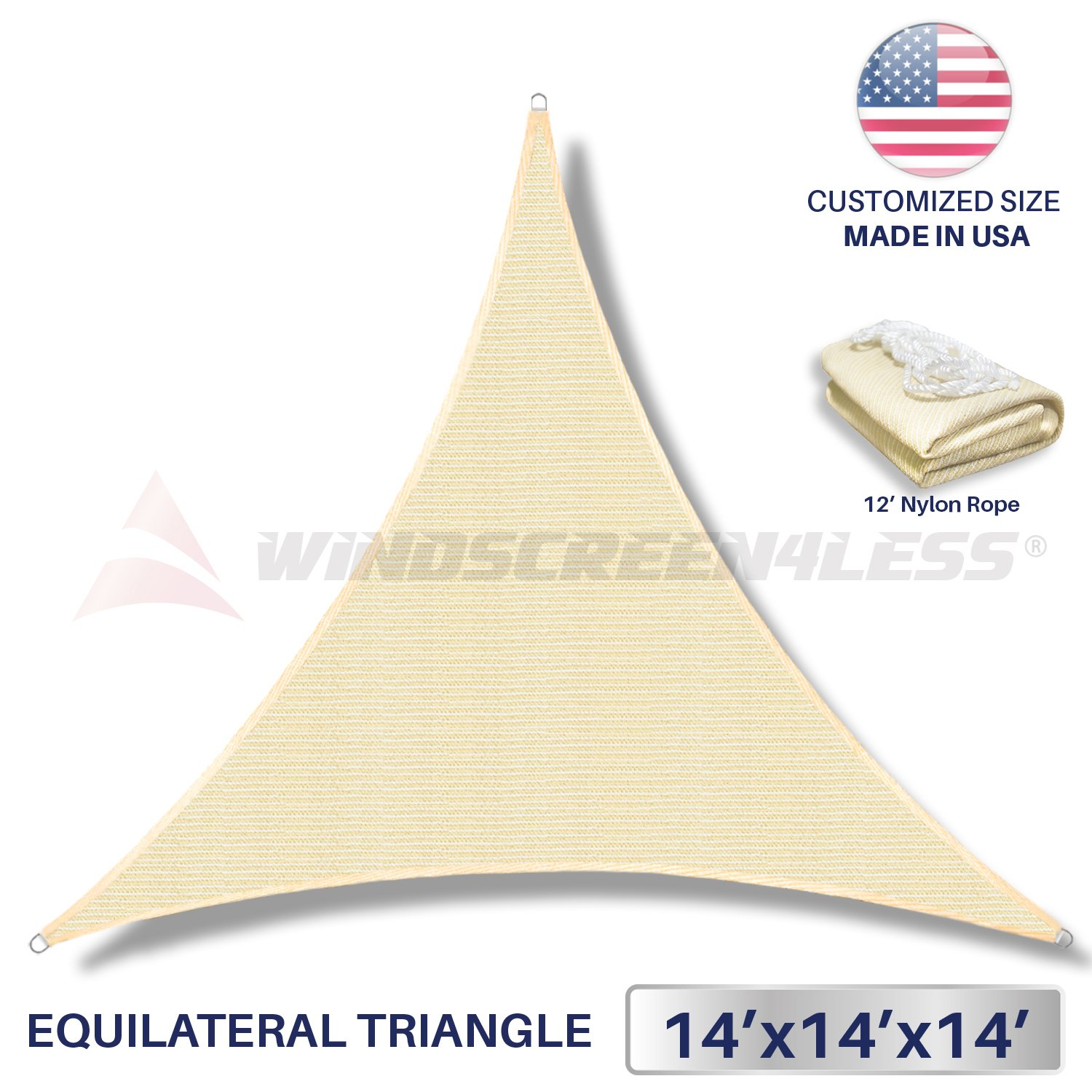 14' x 14' x 14' Sun Shade Sail UV Block Fabric Canopy in Beige Sand Triangle for Patio Garden Patio Customized Size (3 Year Warranty)