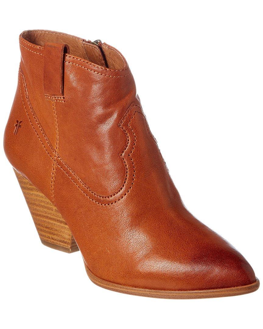 FRYE Women's Cognac Reina Leather Booties Pointed Toe Cognac 8.5 M