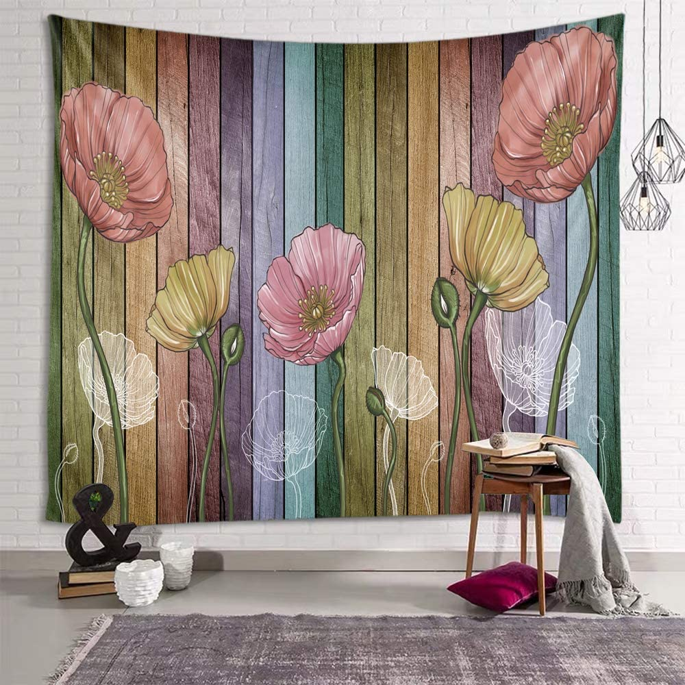 Sevendec Retro Wood Plank Flower Wall Tapestry Colorful Tapestry Wall Hanging for Livingroom Bedroom Dorm Home Decor W90 x L71