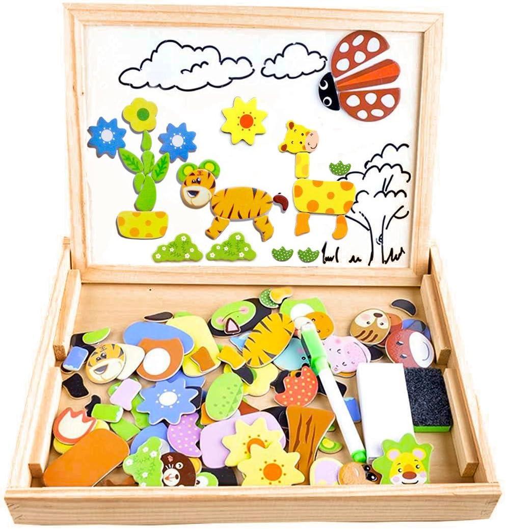 COOLJOY Puzzles Rompecabezas Magnéticos de Madera Juguete Educativo Tablero de Dibujo de Doble Cara para Niños Niña 3 Años 4 Años 5 Años - Acerca de 100 Piezas