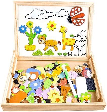 Puzzle Magnetico Legno, COOLJOY Giocattolo di Legno Bambini con