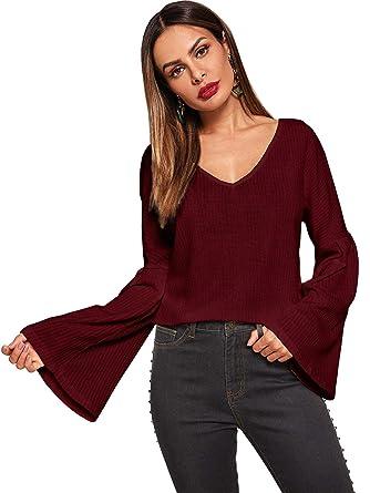 0a4d9cba19 SweatyRocks Women s Deep V Neck Flounce Long Sleeve Knit Sweater Solid T  Shirt Burgundy S