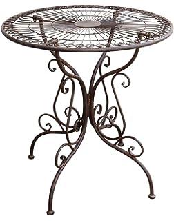 Gartentisch Nostalgie Antik Stil Gartenmöbel Metall Garten Tisch Braun