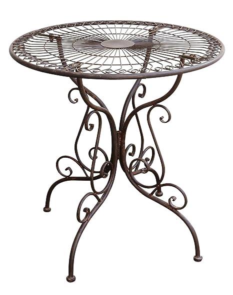 aubaho Table de Jardin - métal - Style Antique - Marron ...