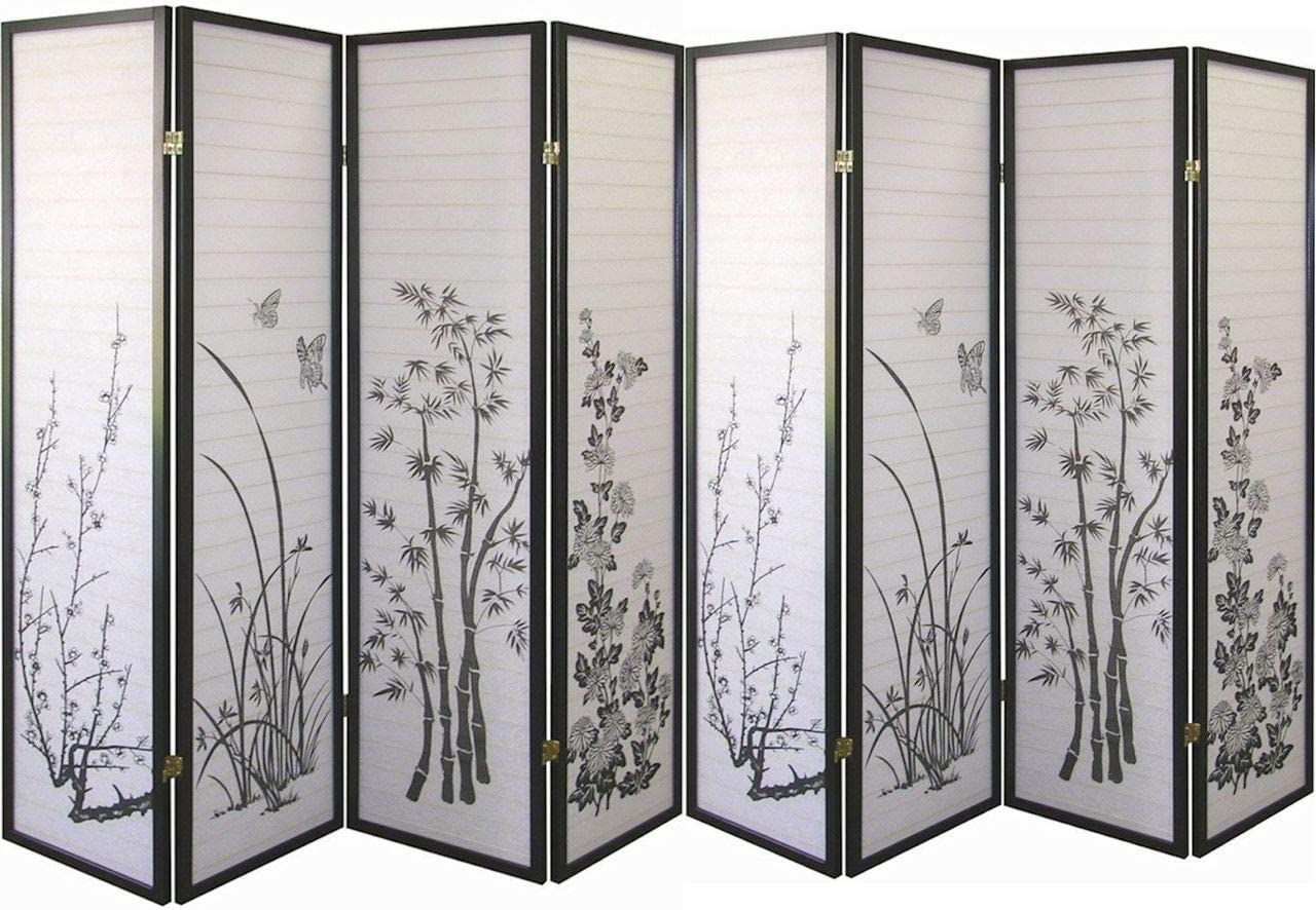 Legacy Decor Black 8 Panel Bamboo Floral Room Divider Screen