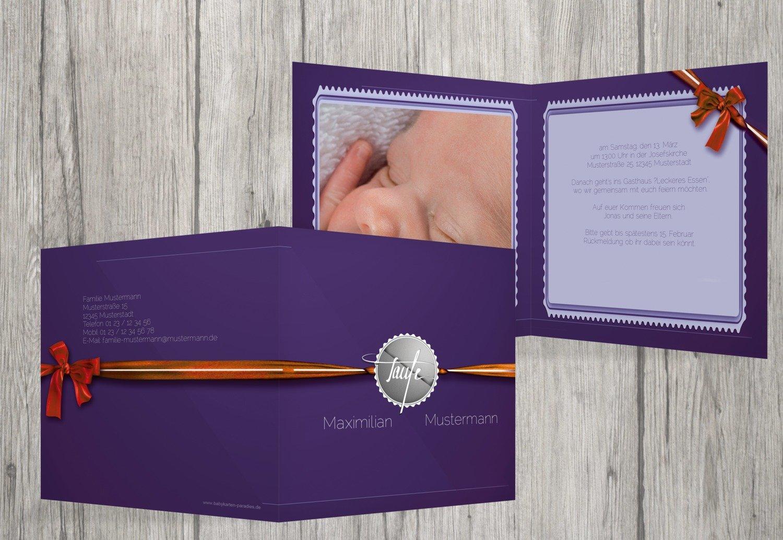 Kartenparadies Einladungskarte Taufeinladung Taufkarte Ribbon, hochwertige Einladung zur Taufe inklusive Umschläge   10 Karten - (Format  145x145 mm) Farbe  Rosalila B01N28A4LY | Um Sowohl Die Qualität Der Zähigkeit Und Härte  | Geeignet für Farbe