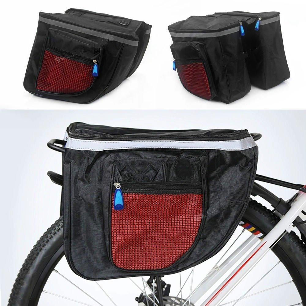 Yosoo Super Large Capacity Bicycle Double Sides Pannier Bag, Multifunctional Waterproof Cycling Seat Bag Rack Rear Bicycle Tail Bag Bike Carrier Trunk (black)