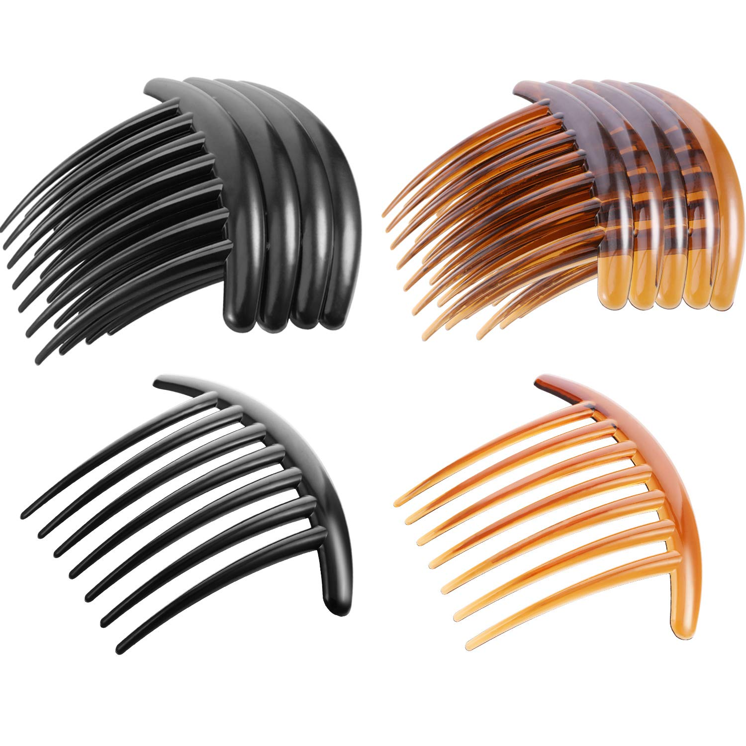 Tatuo 20 Pieces 7 Tooth French Twist Comb Plastic Hair Clip Hair Side Combs Hair Accessory for Women Girls, Black and Brown by Tatuo