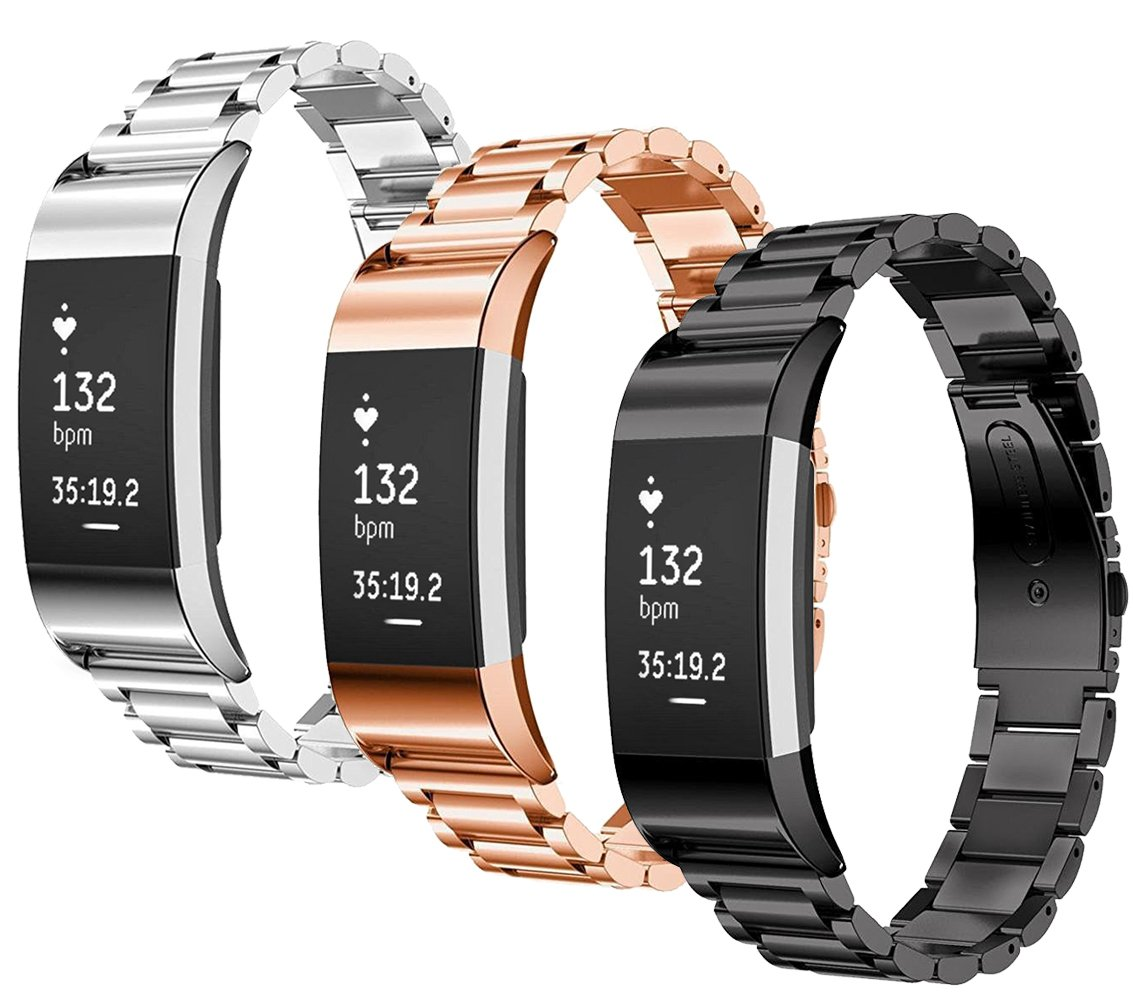 SAILFAR Charge 2 Accessories Bands Fitbit 3PCS Stainless Steel Metal Replacement Bracelet Strap Wrist Smart Watch Band Fitbit Charge 2 HR, Small/Large, Men/Women, Silver, Rose Gold, Black