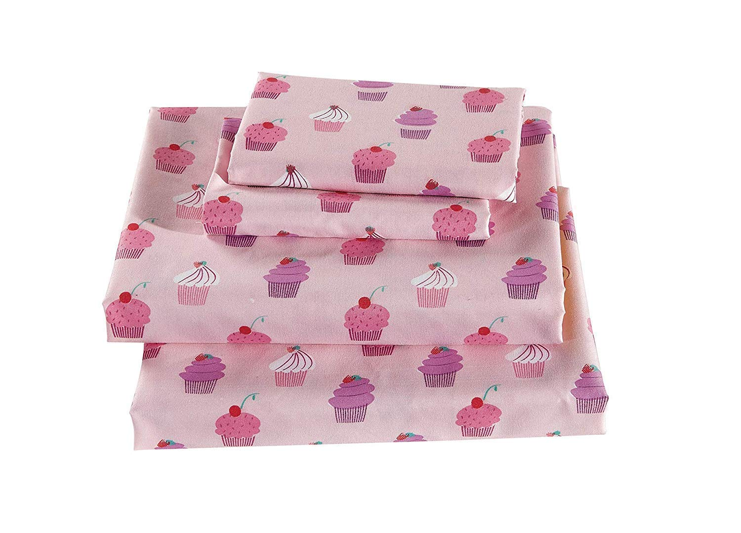 Luxury Linen Collection Kids/Girls/Teens 4 Piece Queen Size Printed Sheet Set with Pillowcase Cupcake Pink by Luxury Home