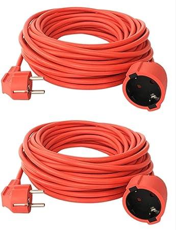 2 Cables de extensión de 50 m Schuko, IP44, Cable de Corriente para jardín, V13: Amazon.es: Bricolaje y herramientas