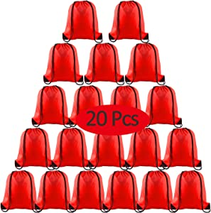 KUUQA 20 Pcs Drawstring Backpack Bags String Backpack Bulk Sport Gym Sack Tote Bags for School Traveling and Storage (Red)