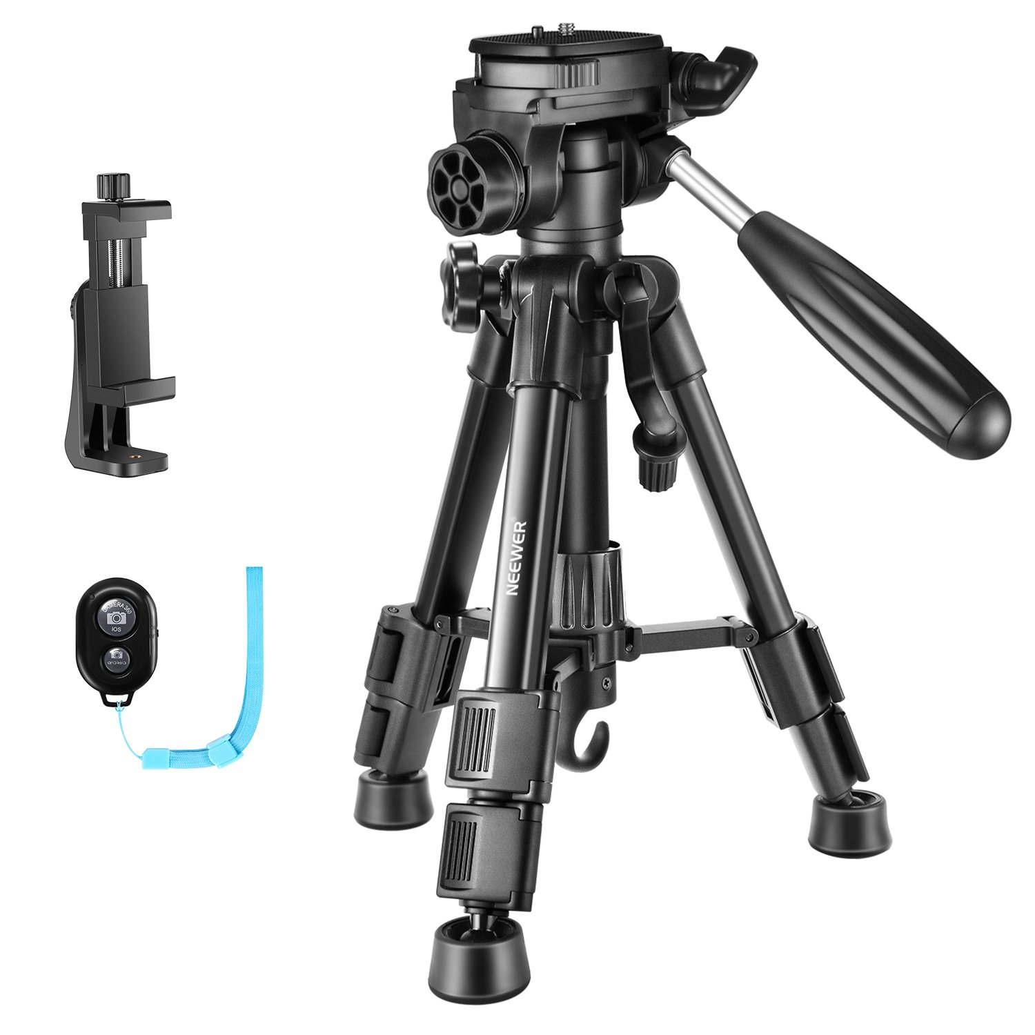 Neewer 24 inches Aluminum Mini Camera Tripod with 3-Way Swivel Pan Head, Cellphone Holder, Remote and Carrying Bag for iPhone, Samsung, Huawei Smartphone, DSLR Camera, Load up to 11 Pounds by Neewer