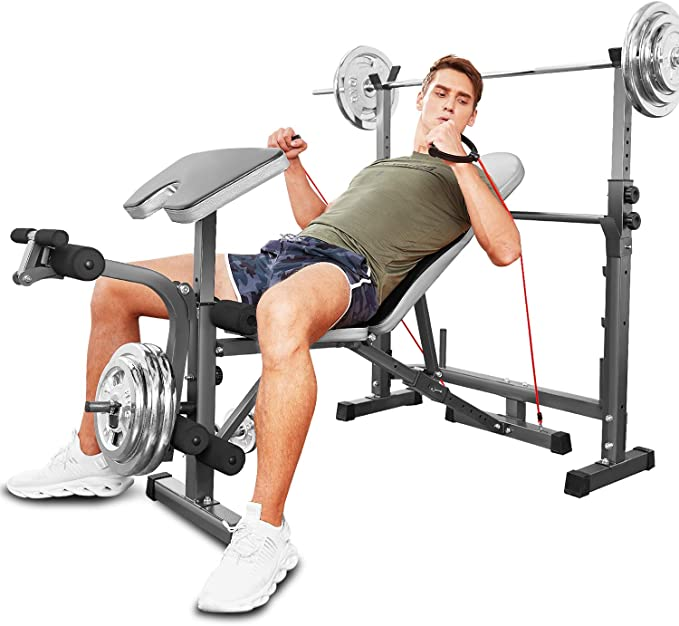 Hosmat Adjustable Olympic Weight Bench with Preacher Curl /& Leg Developer Multifunctional Workout Weight Bench Set for Indoor Gym Home Fitness Exercise 330lbs Capacity