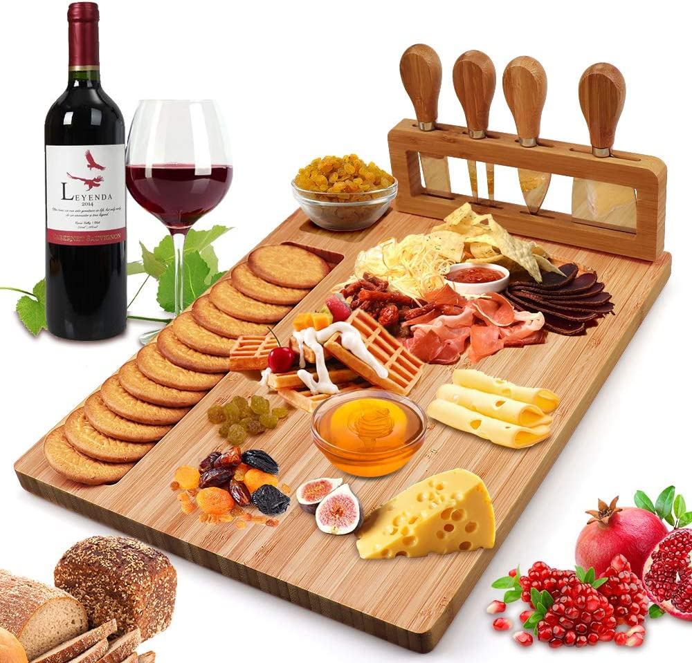 Amazon.com | Bamboo Cheese Board Set, Cheese Tray, Charcuterie Board and  Serving Meat Platter with 4 Stainless Steel Cheese Knives, Ideal for  Wedding Gifts Christmas Birthday Party (14''x11''): Cheese Plates