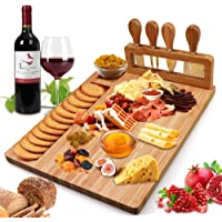 Bamboo Cheese Board Set, Cheese Tray, Charcuterie Board and Serving Meat Platter with 4 Stainless Steel Cheese Knives…