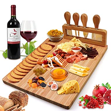 Bamboo Cheese Board Set, Cheese Tray, Charcuterie Board and Serving Meat Platter with 4 Stainless Steel Cheese Knives, Ideal for Wedding Gifts Christmas Birthday Party (14''x11'')