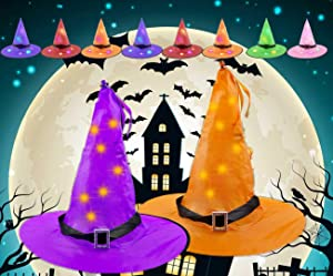 APzek 8 Pieces Halloween Hanging Glowing Witch Hat, Halloween Decorations Outdoor Lighted Witch Hat Halloween Decor Light Hat for Outdoor Yard Tree Lawn Garden Party