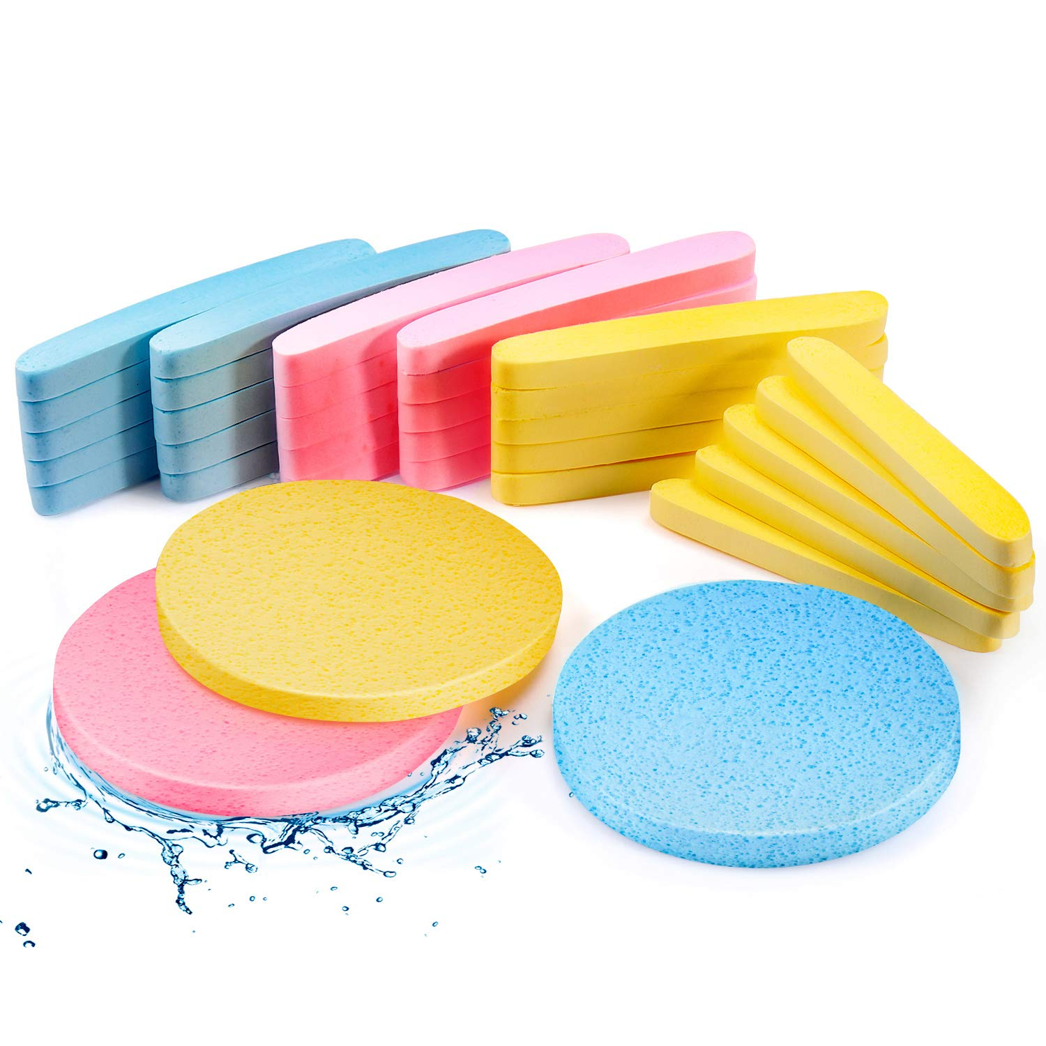 120 Pieces Compressed Facial Sponge Face Cleansing Sponge Makeup Removal Sponge Pad Exfoliating Wash Round Face Sponge for Women Girls, Pink, Yellow, Blue : Beauty