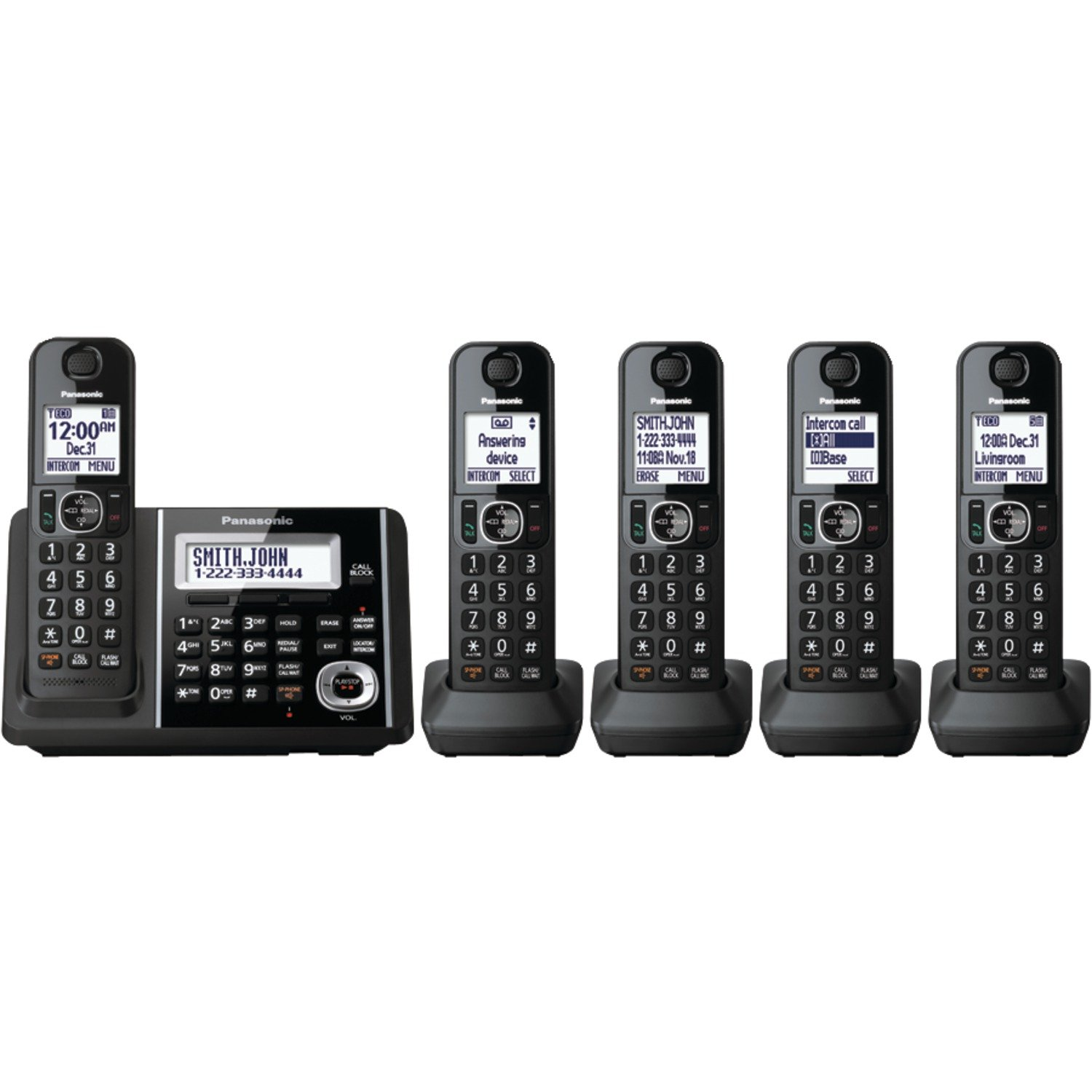 Panasonic Expandable KX-TGF345B Cordless Phone with Answering Machine - 5 Handsets