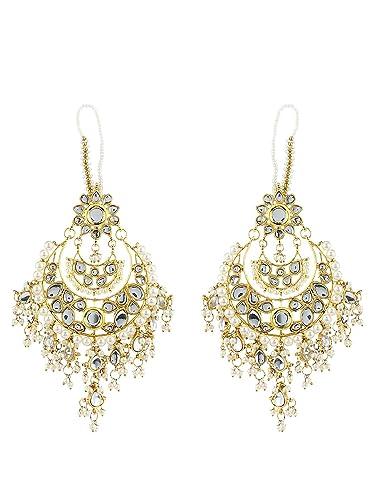 Amazon Com Traditional Kundan Earrings Indian Wedding Earrings