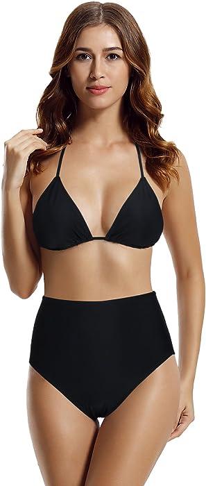 761ce5e0591 Amazon.com  zeraca Women s Retro High Waisted Bottom Triangle Bikini ...