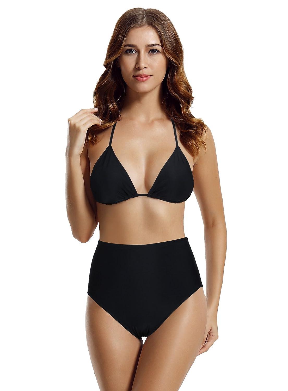 zeraca Women's High Waisted Bottom Triangle Bikini Bathing Suits 81425