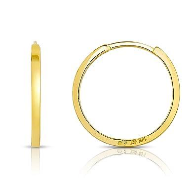 Amazon Com Mcs Jewelry 14 Karat Solid Yellow Gold Huggie Hoop