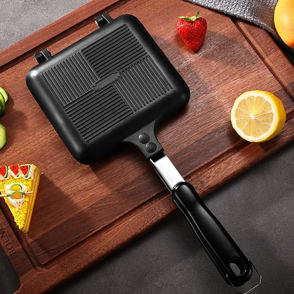 Chenteshangmao Kitchen Utensils Sandwich Bread Baking Tools, Kitchen Utensils Non-stick Pot Energy-saving Toast Durable Double-sided Baking Tray, Black Aluminum Alloy Mold (35 X 15.5 X 14cm) Character