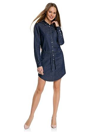 Oodji Ultra Damen Jeanskleid Mit Gürtel Und Brusttasche Amazonde