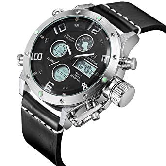 c86662872a6 Tamlee Dual Time Multifunction Digital Analog Leather Sport Watches for Men  Waterproof Army Style Silver Black