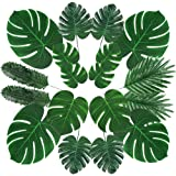 60 Pcs Artificial Palm & Monstera Leaves - Faux Tropical Plants Leaf, Ideal for DIY Wedding, Party, Office, Home, Table Decor