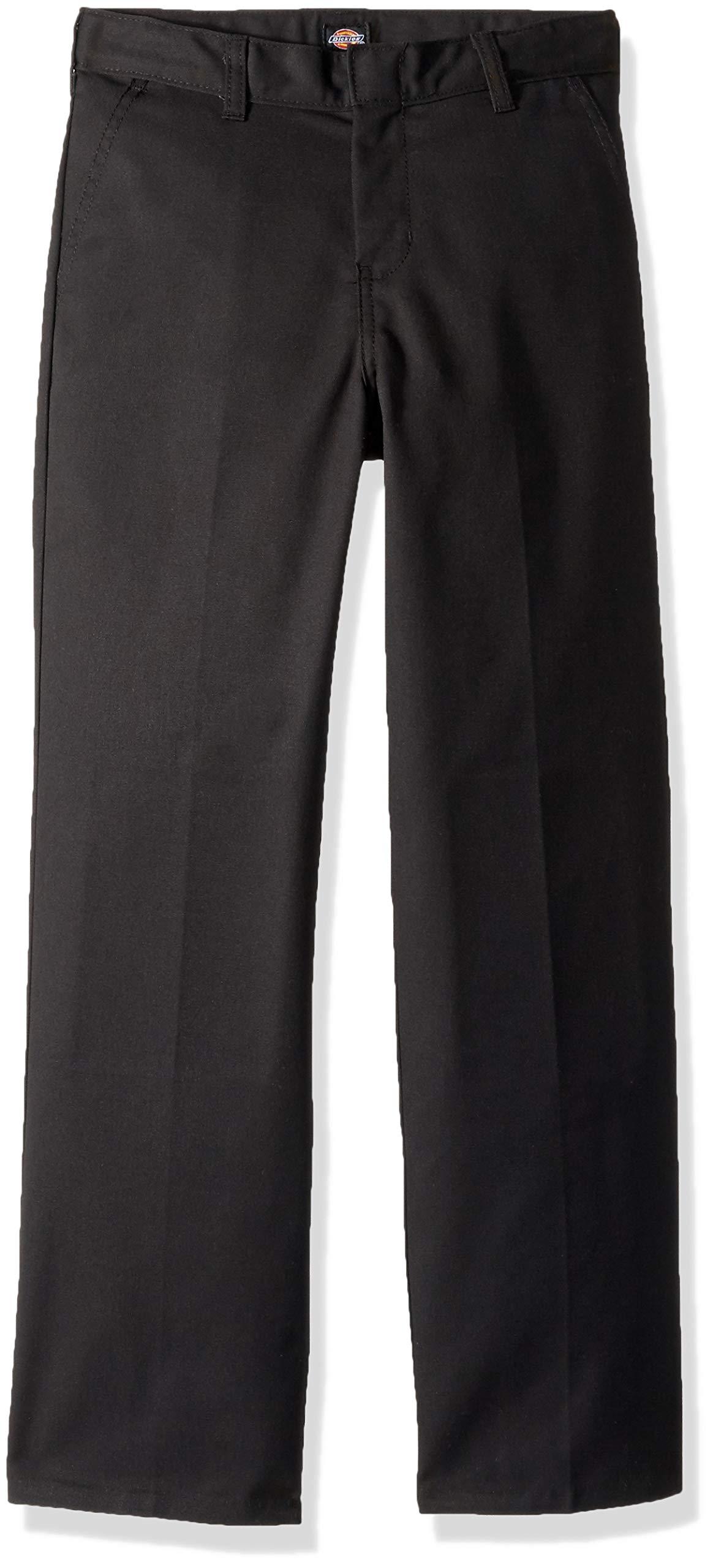 Dickies Kids Boys' Big Flexwaist Flat Front Straight Leg Pant, Black, 8 by Dickies Kids