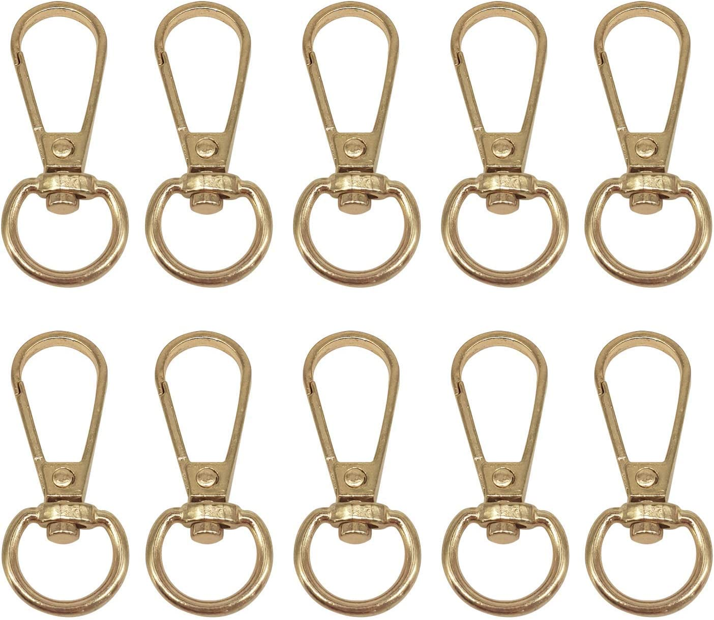 DIY Leather Craft 13mm Gold Webbing Strap Purse Bags Accessories Purse 1pc Weddecor Swivel Claw Clasps Metal Push Clip Lobster Hook with Keyring for Keychains