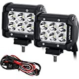 """Auxbeam LED Light Bar 4"""" 18W LED Pods 6Pcs 3W CREE LEDs 1800LM Driving Lights Spot Beam LED Work Lights Waterproof with Wiring Harness (Pack of 2)"""