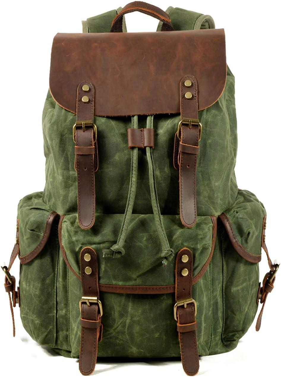 WUDON Travel Backpack for Men & Women, Genuine Leather-Waxed Canvas Shoulder Rucksack, Vintage Style W Laptop Space & Multiple Pockets, Large Bag For Travel, School, University & More (Green-Oversize, Oversize)