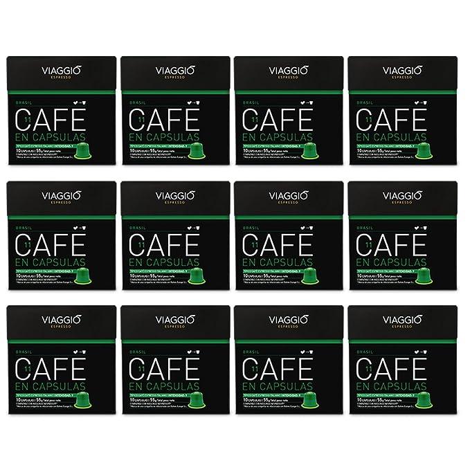 VIAGGIO ESPRESSO - 120 Cápsulas de Café Compatibles con Máquinas Nespresso - BRASIL
