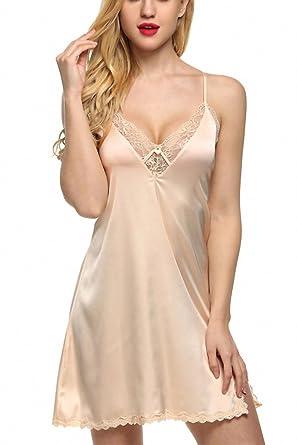 0dbaf7b79f Sexy Sleepwear Silk Nightgown Women Nightdress Sexy Lingerie Plus Size  Female Nightie Beige XS