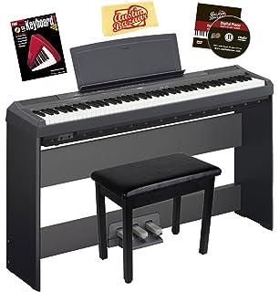 yamaha upright piano. yamaha p-115 digital piano bundle with l85 stand, lp-5a pedal upright