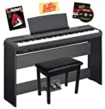 Yamaha P-115 Digital Piano Bundle with Yamaha L85 Stand, LP-5A Pedal, Furniture-Style Bench, Instructional Book, Austin Bazaar Instructional DVD, and Polishing Cloth - Black