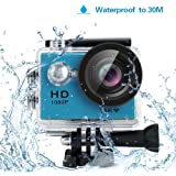 "Yuntab HD 1080P 30fps 12 Mega Pixels Sport Mini DV Action Camera 2.0"" LCD 170° Wide Angle Lens 30M Waterproof WiFi Remote Control Outdoor Sports (Blue)"