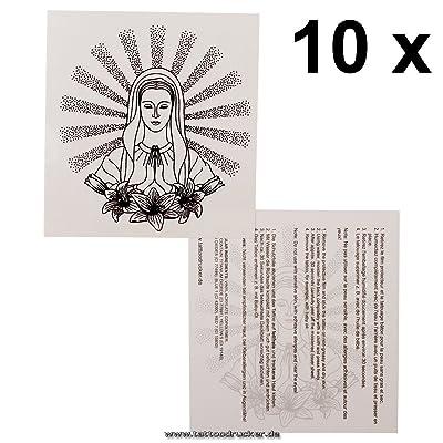 10 x Virgen María que reza como Tatuaje Temporal - Virgin Maria Tattoo (10)